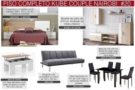 Piso completo 20 - KUBE COUPLE NAIROBI (Pack Mesa + 4 Sillas Negras)