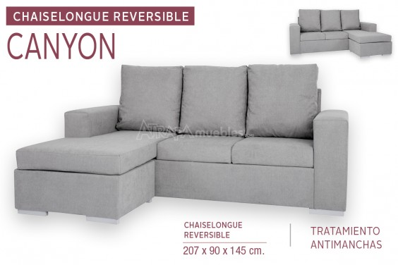 Chaiselongue CANYON Gris Reversible