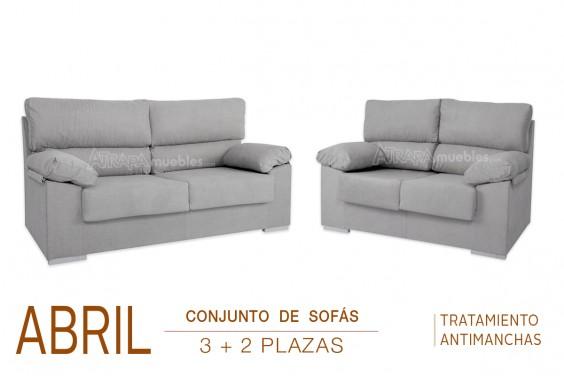 Conjunto de Sofás 3+2 Plazas ABRIL Gris Nido