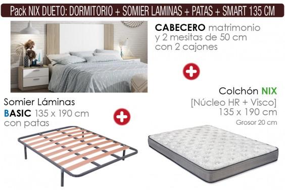 Pack AHORRO Dormitorio DUETO + Somier con patas + Colchón NIX Visco 135x190