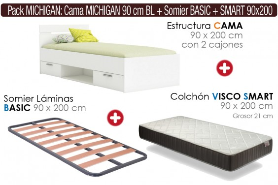 Pack AHORRO Descanso MICHIGAN SMART Blanco 90x200