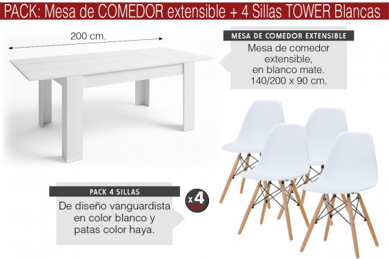 PACK Mesa BASS Extensible + 4 Sillas TOWER Blancas diseño