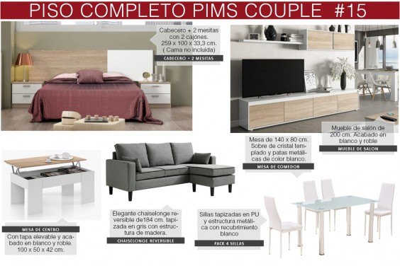 Piso completo 15 - PIMS COUPLE (CH Gris & Pack Mesa y Sillas Blancas)