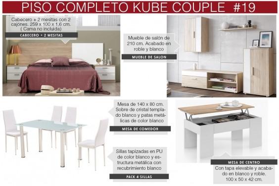 Piso completo 19 - KUBE COUPLE (Pack Mesa + 4 Sillas Blancas)