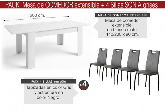 PACK Mesa BASS Extensible + 4 Sillas SONIA Gris