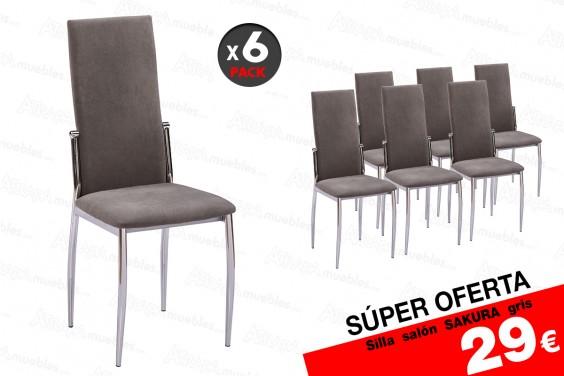 Pack 6 sillas salón SAKURA Gris