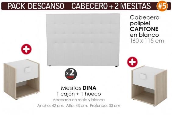 Pack AHORRO Cabecero Capitone Blanco + 2 Mesitas DINA