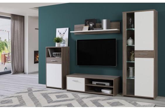 Mueble de salón GULADA Roble Sonoma Gris LEDS