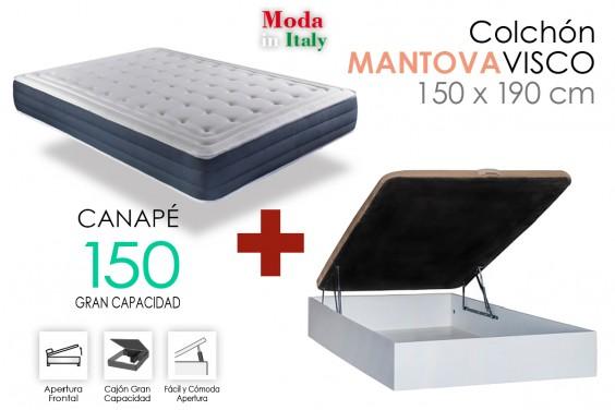 PACK Canapé RECKTO + Colchón MANTOVA VISCO 150