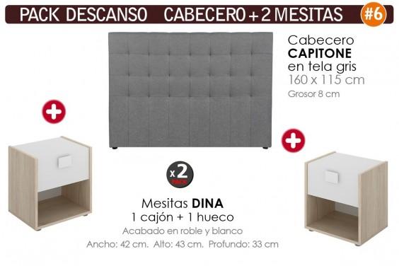 Pack AHORRO Cabecero Capitone Tela Gris + 2 Mesitas DINA