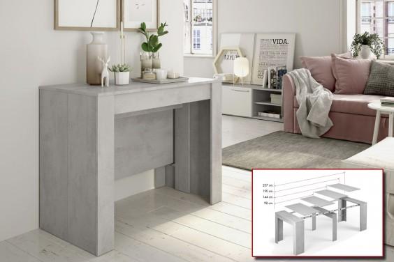 Mesa Consola extensible 4 en 1 Cemento