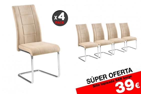 4 sillas salón SAN Beige (39€/u)