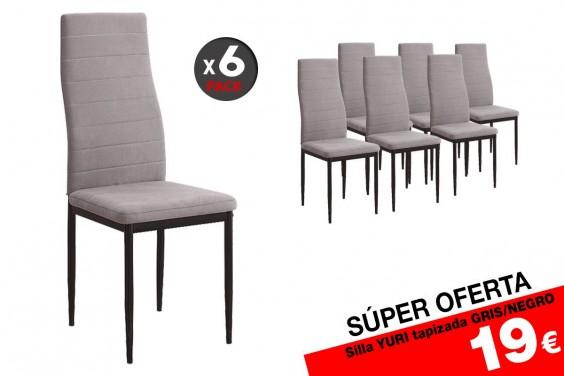 6 sillas salón YURI M024 Gris/Negro 19 €/u. (Tela JARAMA)
