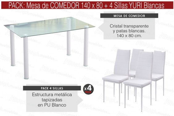 PACK Mesa cristral Transparente + 4 Sillas YURI Blanco