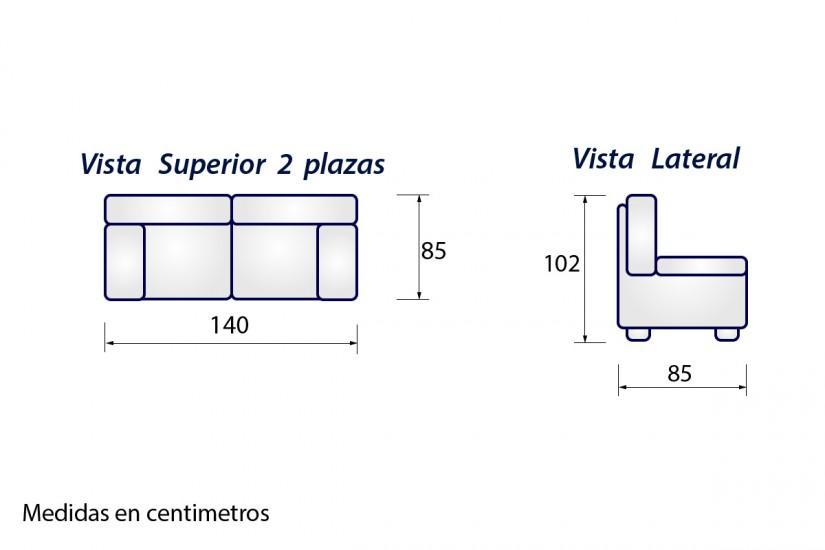 Sof 2 plazas sonja gris al mejor precio for Medida estandar de colchon de una plaza