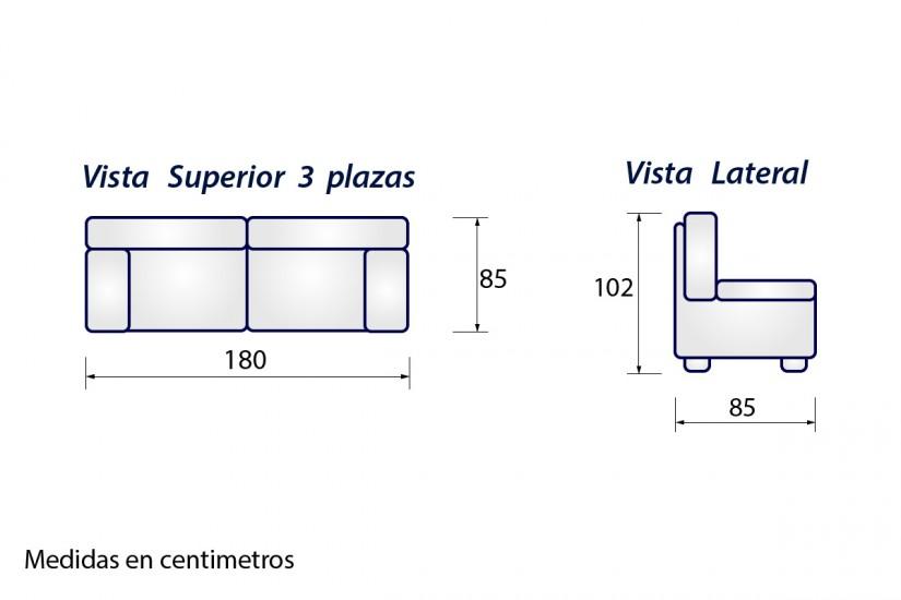 Sof 3 plazas sonja gris al mejor precio - Medidas de sofas 3 2 ...