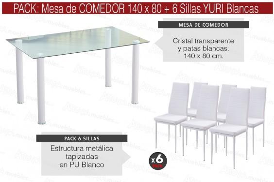 PACK Mesa cristral Transparente + 6 Sillas YURI Blanco