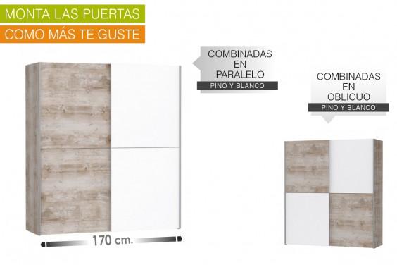 Armario correderas DEDERIK 170x190 Pino Vintage y Blanco Mate