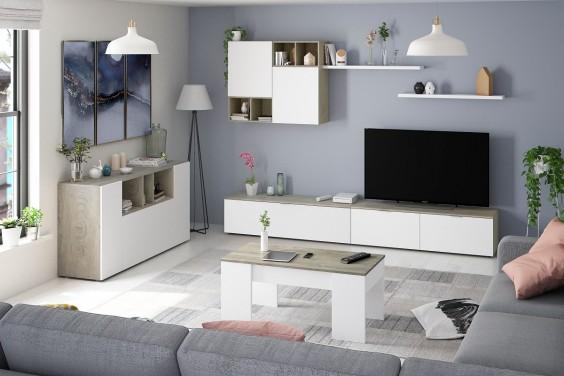 Mueble de salón EVO Roble Alaska y Blanco