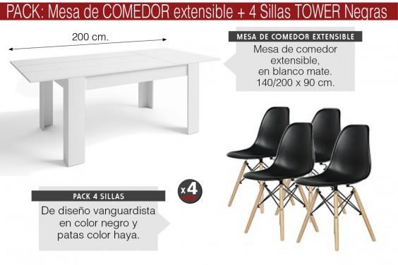 PACK Mesa BASS Extensible + 4 Sillas TOWER Negras diseño