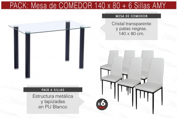 PACK Mesa + 6 Sillas AMY Blancas Estructura Negra