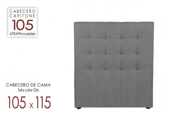 Cabecero de cama CAPITONE Tela Gris 105x115