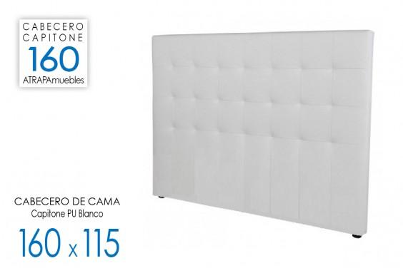 Cabecero de cama CAPITONE PU Blanco 160x115