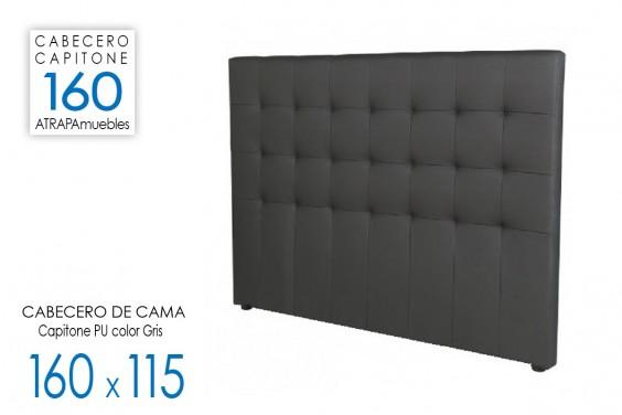 Cabecero de cama CAPITONE PU Gris 160x115