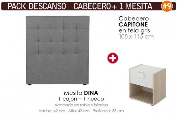 Pack AHORRO Cabecero Capitone Tela Gris 105 + 1 Mesita DINA