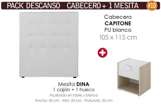 Pack AHORRO Cabecero Capitone Polipiel Blanco 105 + 1 Mesita DINA