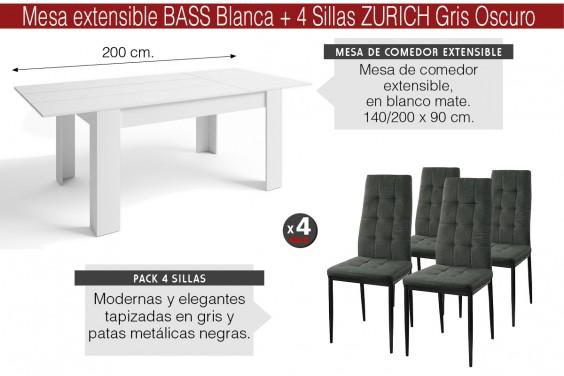 PACK Mesa BASS Extensible + 4 Sillas ZURICH Gris Oscuro