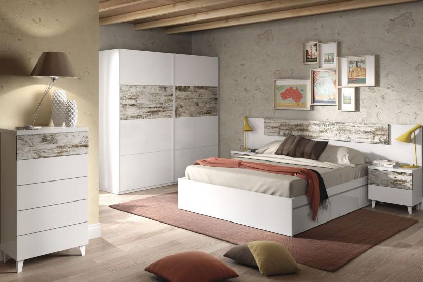 Armario 2 puertas correderas vintage for Armario de dormitorio blanco barato