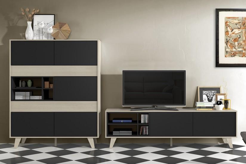 Mueble de salón – comedor ZAIKEN en color Roble Natural y gris ...
