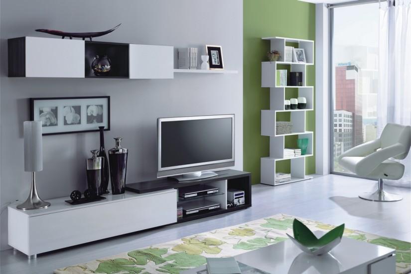 Mueble de salón – comedor NAIA en color blanco y gris ceniza al