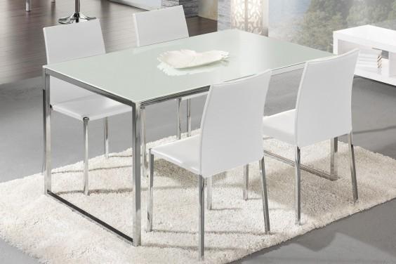 Mesa de sal n comedor poligon 140 x 90 cm cristal blanco for Mesas para salon