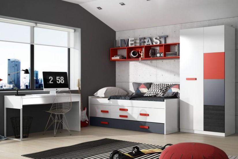 cama doble graffic con somier 2 puertas y 2 cajones