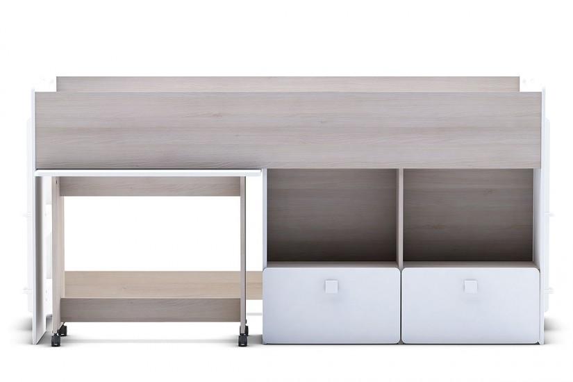 Elegante cama individual de diseño con mesa de estudio