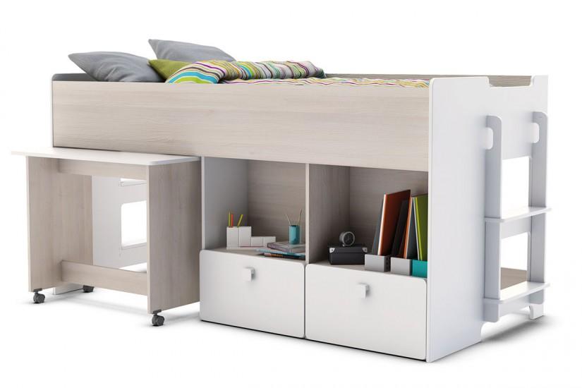Elegante cama individual de dise o con mesa de estudio for Mesas de estudio de diseno
