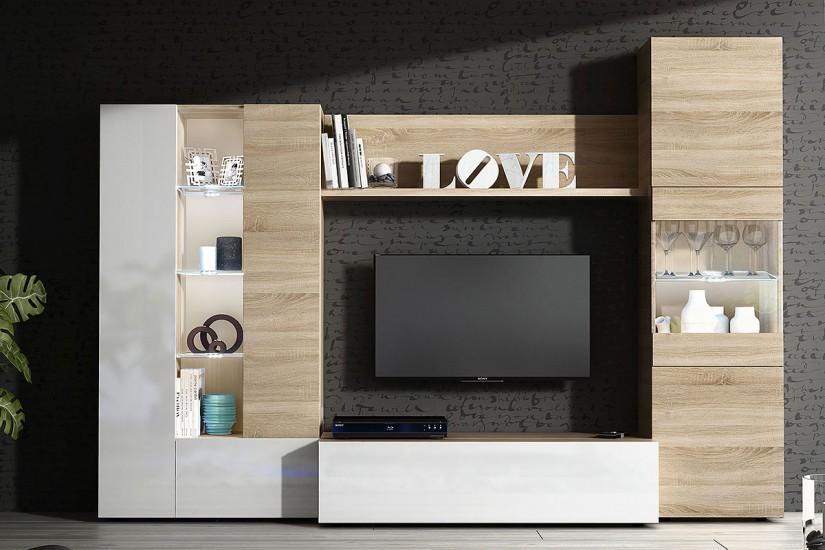 Mueble de sal n comedor essential en color roble for Mueble compacto tv