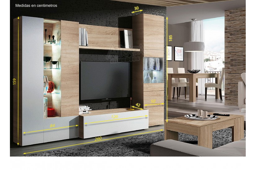 Mueble de sal n comedor essential en color roble for Mueble salon 2 metros
