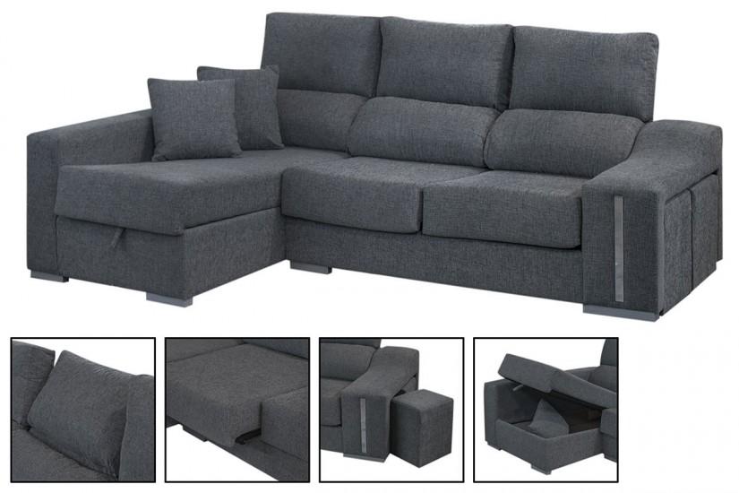 sof chaiselonge oscar en color gris al mejor precio. Black Bedroom Furniture Sets. Home Design Ideas