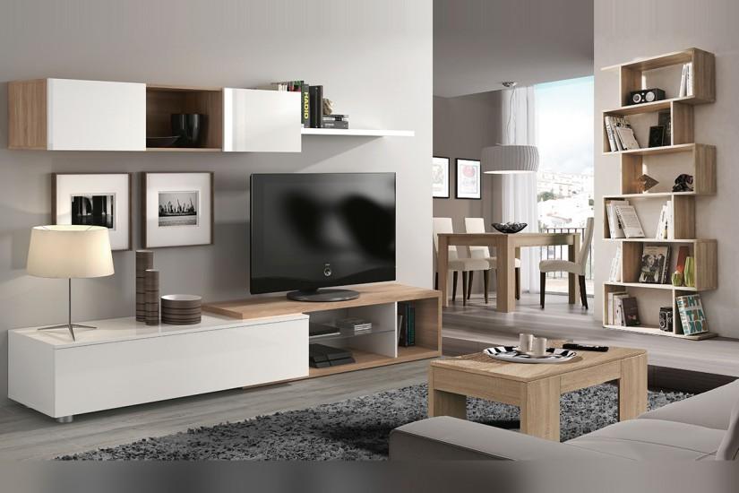 Mueble de sal n comedor naia en color blanco y roble canadian al mejor precio - Rapimueble muebles de salon ...