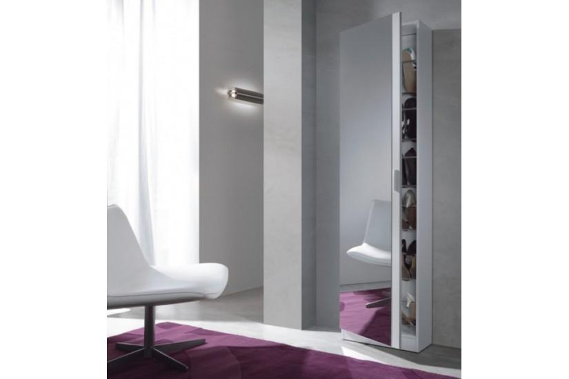 zapatero de 1 puerta con espejo en color blanco modelo