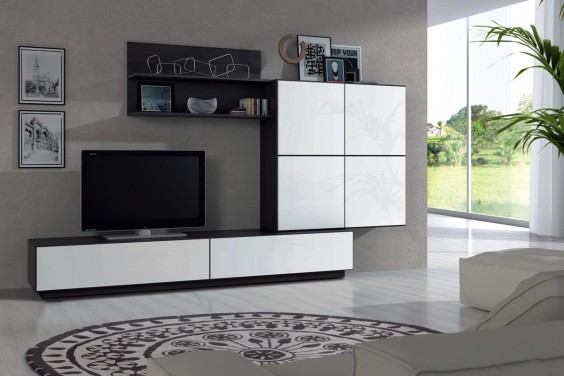 Mueble de sal n tv lue en color blanco y negro malla al - Muebles de escayola para salon ...