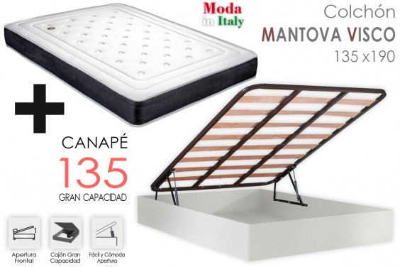 PACK Canapé + Colchón MANTOVA VISCO 135