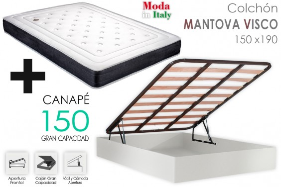 PACK Canapé + Colchón MANTOVA VISCO 150