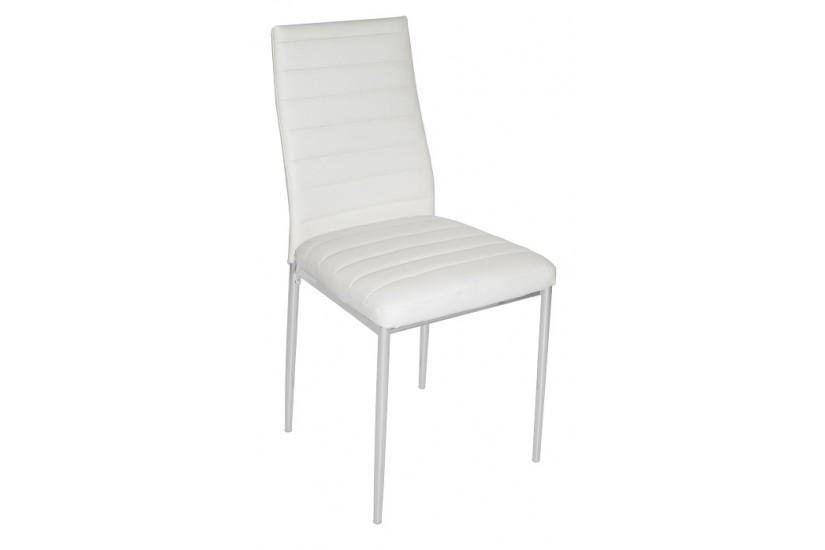 Conjunto de 2 sillas tapizadas en polipiel color blanco for Sillas para salon