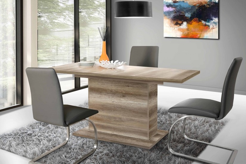 Mesa de sal n comedor buffalo roble antiguo extensible 160 200 cm - Mesas extensibles salon ...