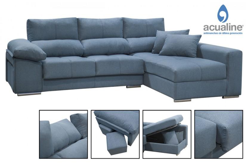 Sof chaiselonge copi en elegante color azul al mejor precio for Sofas al mejor precio