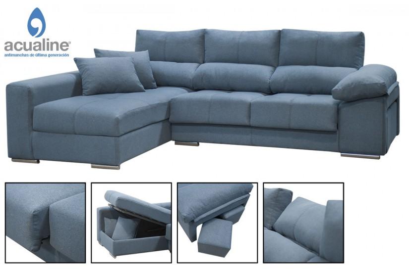 Sofá chaiselonge COPI en elegante color Azul al MEJOR PRECIO